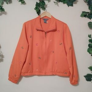 Koret Flower Embroidered Zip Up Jacket